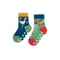 """Chaussettes anti-dérapantes """"Grippy Socks 2 Pack, Fjord Green / Geese"""" - coton bio"""