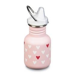 "Gourde bouteille en inox - 355 ml - Bouchon Sippy Cap - ""Coeurs"" blanc"