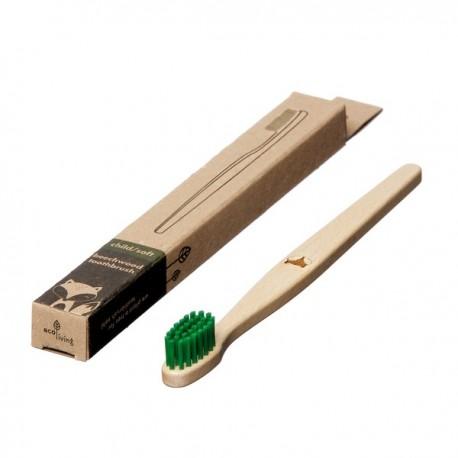 """Brosse à dents en bois Enfant """"Renard"""" vert"""
