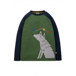 "T-shirt ""Alfie Raglan Top, Khaki/Wolf"" - coton bio"