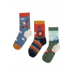 "Chaussettes ""Rock My Socks 3 Pack, Rainbow/Bike"" - coton bio"
