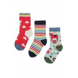 "Chaussettes ""Rock My Socks 3 Pack, Watermelon/Ptarmigan"" - coton bio"