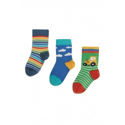 """Chaussettes """"Little Socks 3 Pack, Fjord Green/Tractor"""" - coton bio"""