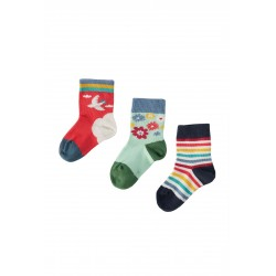 "Chaussettes ""Little Socks 3 Pack, Abisko Sky/Dala Horse"" - coton bio"