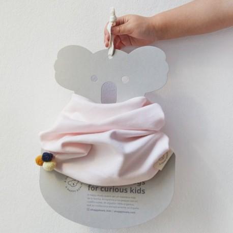 "Snood ""Soft Pink + Pompom"" - coton bio"