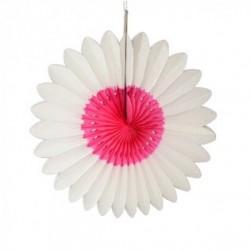 "Fleur en papier ""Blanc-fuchsia"" diamètre 45 cm"