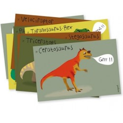 "8 cartes d'invitation ""Dinosaure"""