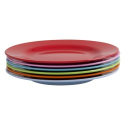 Assortiment de 6 petites assiettes colorées en mélamine