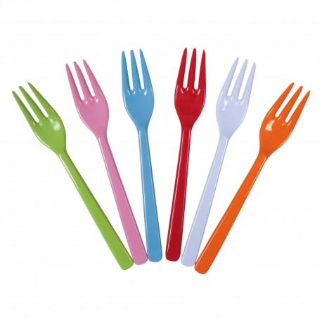 Assortiment de 6 petites fourchettes colorées en mélamine (à la pièce)