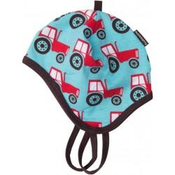 """Bonnet bébé """"Tractor"""" avec liens - coton bio"""