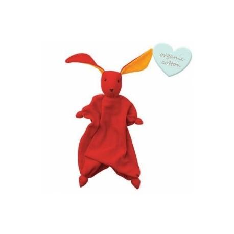 """Doudou lapin """"Tino"""" Red/Orange - coton bio"""