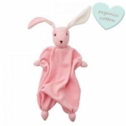 """Doudou lapin """"Tino"""" Baby pink/White - coton bio"""