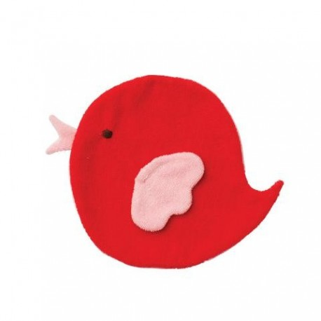"""Doudou coussin plat """"Bird red / baby pink"""""""