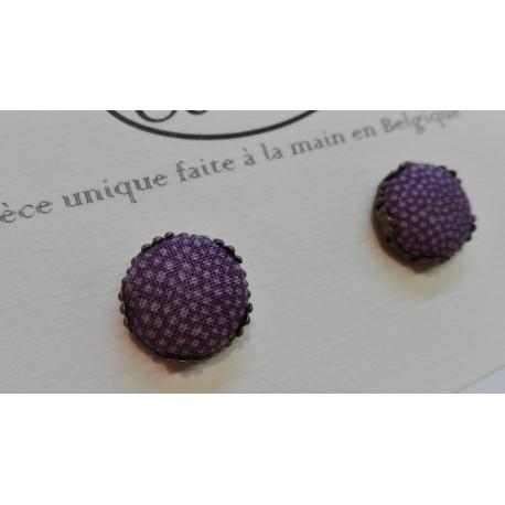 """Boucles d'oreille clou """"Petits pois fond violet"""""""