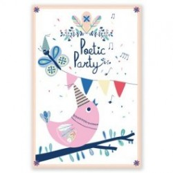 "8 cartes d'invitation ""Poetic Party"""