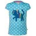 "T-shirt ""Sky Polka Cat"" - coton bio"