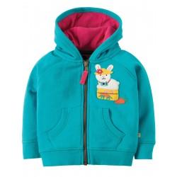 "Sweat à capuche ""Turquoise/Bunny"" - coton bio"