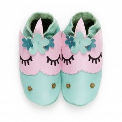"Chaussons en cuir souple ""Flower Power"""
