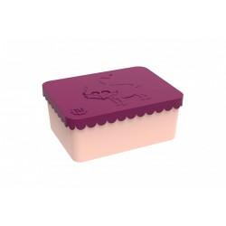 """Petite boîte à tartines """"Renard"""" - aubergine / pêche"""