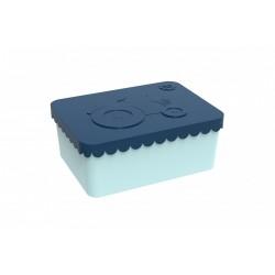 "Petite boîte à tartines ""Tracteur"" - bleu marine / bleu ciel"