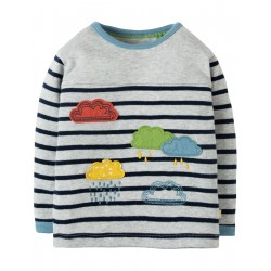 "T-shirt bébé ""Playtime Panel Tee, Grey Marl Stripe / Rainclouds"" - coton bio"