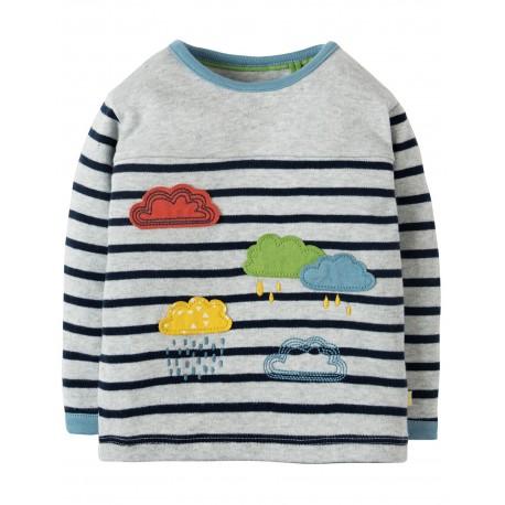 "T-shirt bébé ""Playtime Panel Tee, Grey Marl Stripe / Rainclouds"" - coton bio"