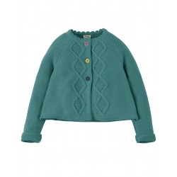 "Gilet ""Carrie Cable Cardigan, River Blue"" - coton bio"