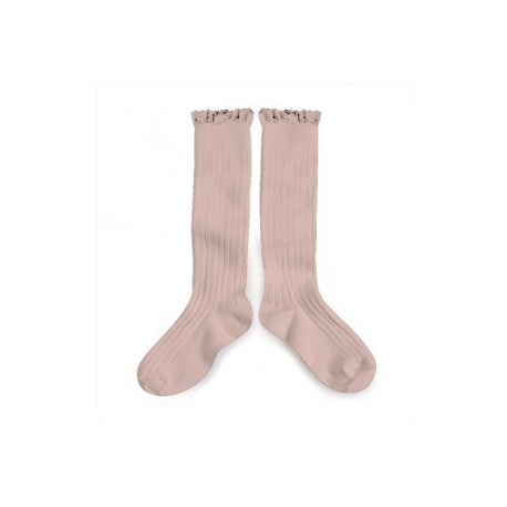 """Chaussettes hautes """"Dentelle"""" Vieux rose - Made in France"""