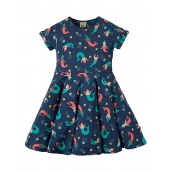"Robe ""Spring Skater Dress, Marine Blue Mermaid Magic"" - coton bio"
