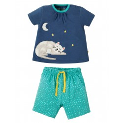 "Pyjama ""Little Peony Pyjamas, Marine Blue Cat"" - coton bio"