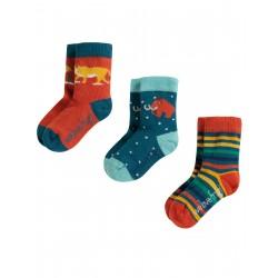 """Chaussettes bébé """"Little Socks 3 Pack, Prehistoric Multipack"""" - coton bio"""