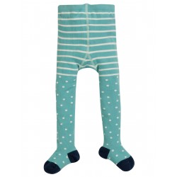 "Collants ""Tamsyn Tights, Topaz Blue Snowy Spot"" - coton bio"