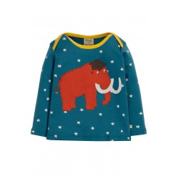 "T-shirt bébé ""Bobby Applique Top, Steely Blue Star Mammoth"" - coton bio"
