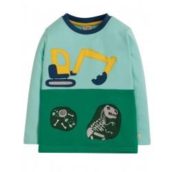 """T-shirt """"Peter Panel Tee, Topaz Blue/Digger"""" - coton bio"""