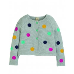 "Cardigan ""Emilia Embroidered Cardigan, Grey Marl / Multi Spot"" - coton bio"