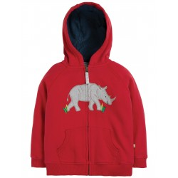 "Sweat ""Lucas Zip Up Hoody, Tango Red / Rhino"" - coton bio"