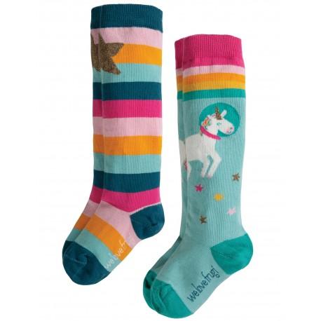 """Assortiment de 2 chaussettes hautes """"Hygge High Knee Socks 2pk, Unicorn Multipack"""" - coton bio"""