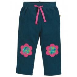 """Pantalon bébé """"Little Cord Patch Trousers, Space Blue / Flower"""" - coton bio"""