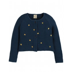 "Cardigan ""Emilia Embroidered Cardigan, Space Blue / Stars"" - coton bio"
