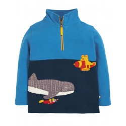 "Sweat ""Super Half Zip, Sail Blue / Shark"" - coton bio"