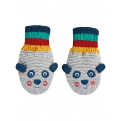 "Moufles ""Merry Knitted Mittens, Panda"" - coton bio"