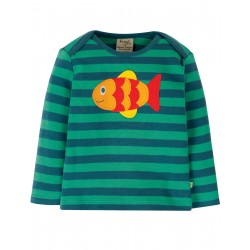 "T-shirt bébé ""Bobby Applique Top, Pacific Aqua Stripe / Fish"" - coton bio"