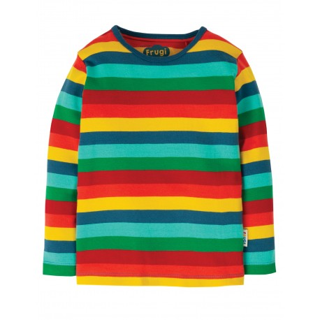 """T-shirt bébé """"Favourite L/S Tee, Steely Blue Multi Stripe"""" - coton bio"""