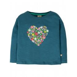 "T-shirt ""Bethany Boxy Top, Steely Blue / Heart"" - coton bio"