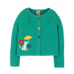 "Cardigan ""Annie Applique Cardigan, Pacific Aqua / Cat"" - coton bio"