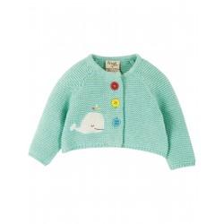 "Cardigan bébé ""Cute As A Button Cardigan, Light Aqua / Whale"" - coton bio"