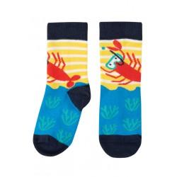 "Chaussettes ""Perfect Little Pair Socks, Fresh Yellow Breton / Lobster"" - coton bioton bio"