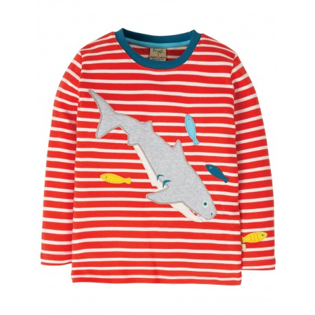 "T-shirt ""Discovery Applique Top, Koi Red Stripe / Shark"" - coton bioo"
