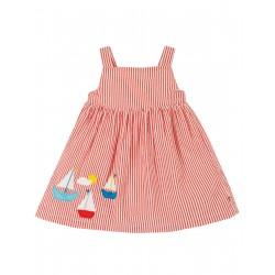 "Robe ""Alma Summer Dress, Koi Red Seersucker / Boat"" - coton bio"