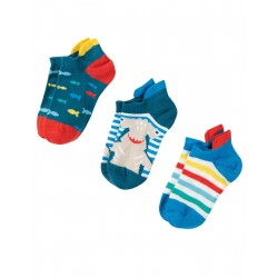 """Chaussettes courtes """"Arno Ankle Sock, Shark Multipack"""" - coton bio"""